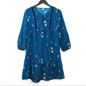 Old Navy Boho Floral Tassel Velvet Puff Dress XS